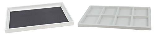 Witte Sieraden Display Lade met Keuze van Witte Inzet - Ketting Armband Oorbel Coin Horloge Organiser Tray with 8 Compartment Insert