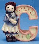 Raggedy Ann and Andy - C Is For Cat decorative letter -  Enesco, 856789C