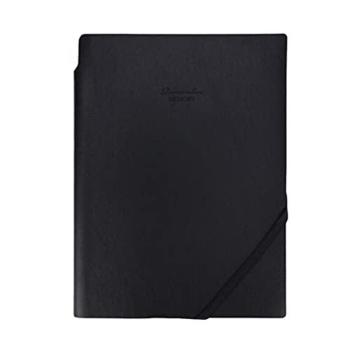 FEANG Note Notebook per Il Lavoro Nota Che Prende Il Blocco Note del Giornale con Inserto Penna PU. Diario di Cuoio con Corda (Nero, Blu) Diario (Color : Black)