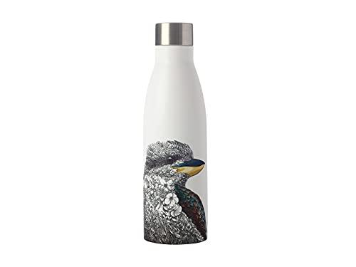 Maxwell & Williams Marini Ferlazzo - Borraccia termica con motivo Kookaburra, doppia parete, in acciaio inox, 500 ml, colore: Bianco