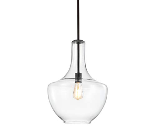 """JONATHAN Y JYL6401B Watts 13.25"""" Glass/Metal LED Pendant, Contemporary, Transitional for Kitchen, Living Room, Oil Rubbed Bronze/Clear"""