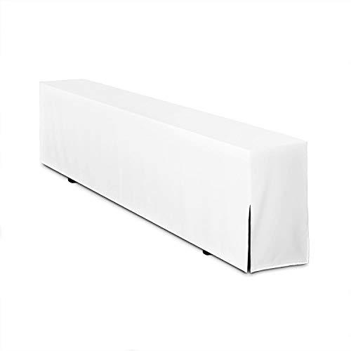 TexDeko Bierbank-Husse GEPOLSTERT 220cm für Bierzeltgarnitur Festzeltgarnitur Bankhusse Basic Lang (nur Bank) Weiß