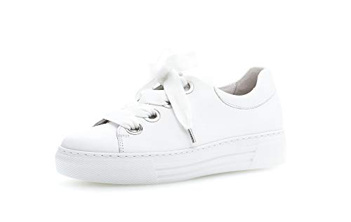 Gabor Damen Low Top Sneaker, Frauen Halbschuhe,lose Einlage,Moderate Mehrweite (G),Women's,Woman,schnürschuhe,schnürer,weiblich,Weiss,39 EU / 6 UK