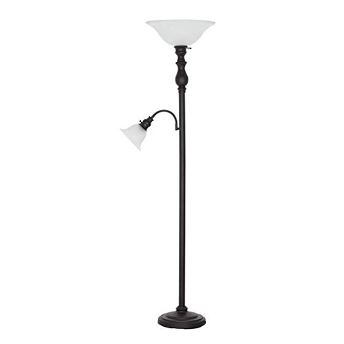 Amazon Brand – Ravenna Home Torchiere Standing Floor Lamp with Reading Light and LED Light Bulbs - 69.75 Inches, Dark Bronze with Frosted Glass Shade