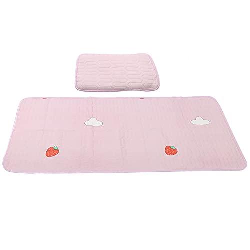 Baby Summer Cool Mat, Fácil De Limpiar Almohada De Colchón De Verano para Bebé Lavada Suavemente A Máquina para Verano Y Otoño(Fresa Rosa, 1)