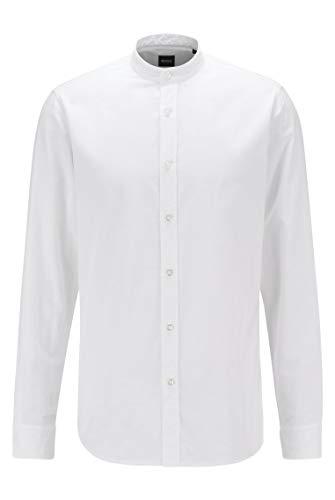 BOSS Herren Race Regular-Fit Hemd aus Soft angerauter Baumwolle mit Stehkragen
