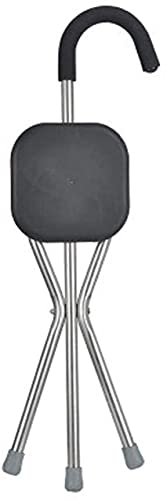BJH Muletas - Taburete de bastón para Anciano - Viejo Andador Plegable de Tres Patas con Taburete de Asiento - Taburete de bastón de Tres pies - Silla multifunción, bastón Antideslizante, muleta ⭐