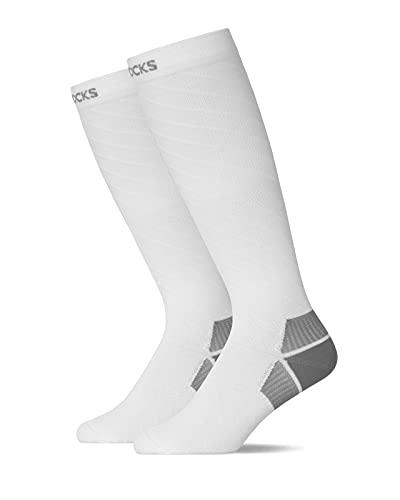 Snocks Calcetines de Compresion Hombre Medias Compresión Pack de 1 Blanco Calcetines de Compresión de Running para Hombre Tamaño 43-46 Deporte,Vuelos y Trombosis, Médicos