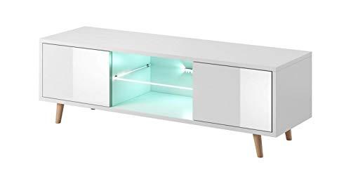 VIVALDI Mobile porta TV - SWEDEN - 140 cm - Bianco Opaco / Bianco Lucido con illuminazione a LED blu - Stile scandinavo