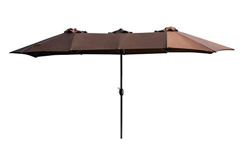 LOKATSE HOME 14.7 Ft Double Sided Outdoor Umbrella Rectangular Large with Crank for Patio Shade Outside Deck or Pool, Brown