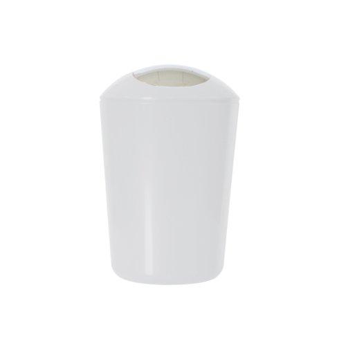 axentia Schwingdeckeleimer, ca. 5 L Kosmetikeimer aus weißem Kunststoff, geruchshemmender Mülleimer mit verchromtem Schwingdeckel