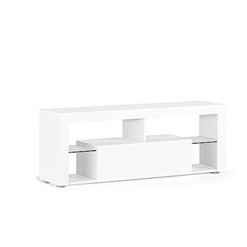 Vicco Lowboard LED TV Hugo TV Schrank Fernsehtisch Fernsehschrank (Weiß)