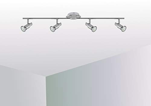 Trango 4-flammig 2890-048SD LED Deckenleuchte *OSCAR* in Chrom-Optik inkl. 4x 5 W 3-Stufen dimmbaren GU10 LED Leuchtmittel I Deckenlampe I Deckenstrahler I Deckenspots I Wohnzimmer Lampe schwenkbar und drehbar