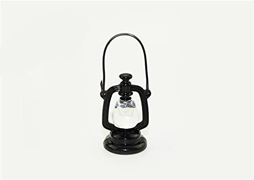 Mini Lámpara de aceite retro, Linterna Muñeca Casa Lámpara de aceite Miniatura Mini Mini Luz Vintage Accesorios Modelo de simulación Juguete para Navidad (Color : Black)