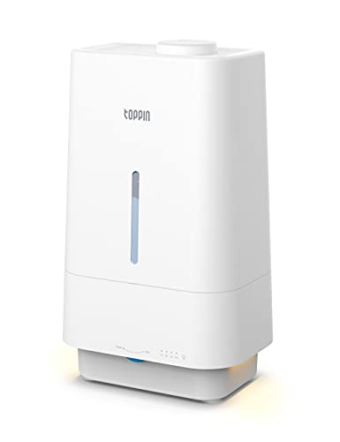 TOPPIN Humidifiers for Bedroom with Essential Oils - Top Fill Cool Mist Humidifiers - 4.5L Super Quiet Auto Shut-off Air Humidifier with Timer & Nightlight