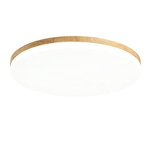 Libuty Stile giapponese Ultra-sottile LED Retro Log Basch Materiale da incasso Plafoniera Simple Circular Energy-Saving Corridor Lampada da soffitto dimmerabile, lamellare lampada acrilica bianca latt