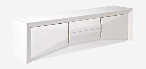 CAMINO A CASA - Meuble TV Design 2 Portes laqué Blanc Arc
