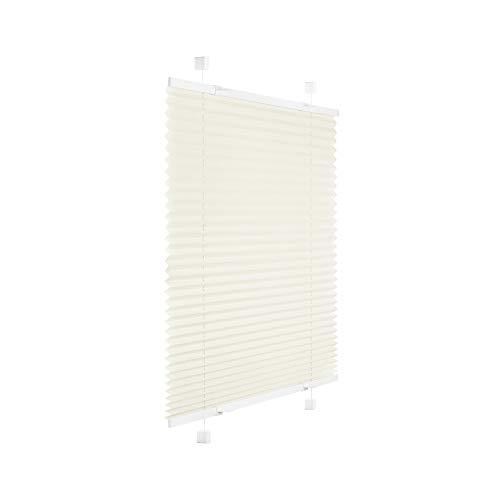 Victoria M. Easyfix Plissee Faltrollo ohne Bohren Plisseeanlage Klemmfix mit Klemmträger für Fenster und Türen, Größe: 85 x 120 cm, Farbe: Creme