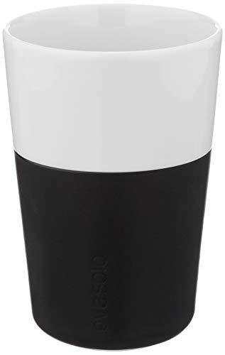 Eva Solo 5706631052030 501003 Latte-Becher, Silikonschale, 360 ml, Porzellan, carbon schwarz, 8,5 x 8,5 x 12,5 cm, 2-teilig