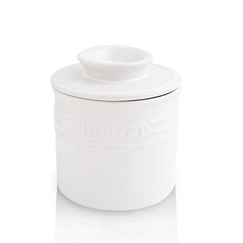 KOOV Buttertopf aus Porzellan, französische Butterdose, Keramik-Butterhalter für Theke, großes Fassungsvermögen, elegante blaue Kollektion (weiß)