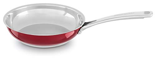 """KitchenAid Riveted Stainless Steel/Red Fry Pan Dishwasher Induction Safe 8"""" Skillet (KC2S08SKPC)"""
