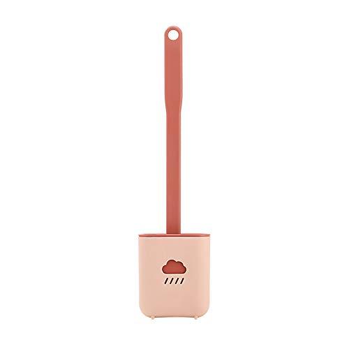 Escobilla de baño de silicona, cepillo de inodoro colgante antibacteriano, secado rápido y recipiente, cepillo de repuesto para inodoro para cuarto de baño, 38 x 10 x 4 cm (rojo)