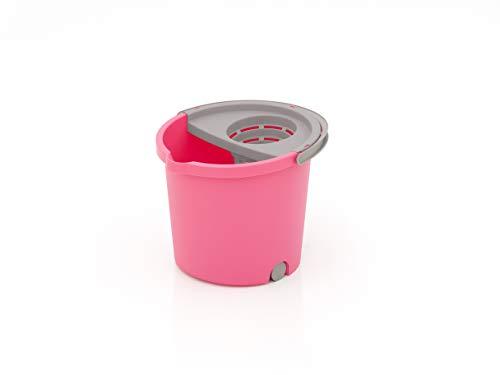 SMART-T-HAUS Cubo Redondo con 3 Mini Ruedas + Escurridor, Rosa, 33 x 35 x 28 cm