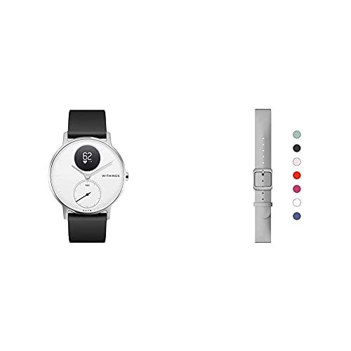 Withings Steel HR - Hybrid Smartwatch - Aktivitätstracker mit Connected GPS, Herzfrequenzmessungen & Sport-Armband aus Silikon für ScanWatch, Steel HR, Steel HR Sport, Move ECG, Move und Steel