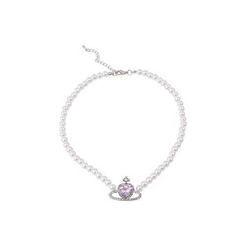XPT Pendientes para Mujer, Corazón Púrpura, Todo Fósforo, Cristal De Imitación, Moda para Mujer, Pendientes De Diamantes De Imitación, Collar, Pulsera para Fiesta Pulsera
