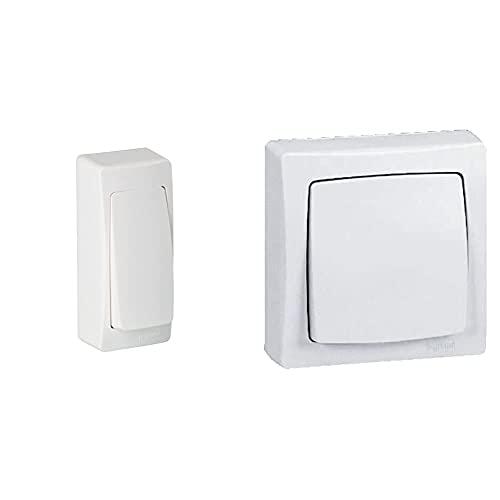Legrand Leg97341 Interruptor Conmutador Superficie, 3680 W, 230 V, Blanco + 097340 Interruptor Conmutador De Superficie Con Marco, 2300 W, 230 V, Blanco