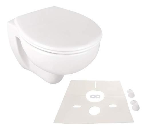 Calmwaters Spülrandloses Wand-WC im Set mit WC-Sitz & Schallschutz, antibakterieller Toilettendeckel mit doppelter Absenkautomatik & abnehmbar, WC ohne Spülrand, mit Schallschutzmatte, 99000258