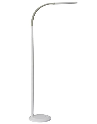 PHIVE LED Floor Lamp for Reading, Dimmable Gooseneck Standing Lamp (4 Color Modes, 5-Level Dimmer, 12W, Memory Function, Touch Control Floor Light for Living Room, Bedroom, Office) White