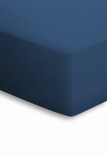 schlafgut Mako-Jersey Basic Spannbetttuch, Baumwolle, Marine, 200 x 150 cm