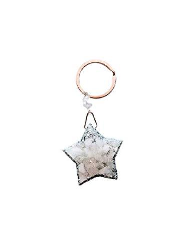 Floresyabejas Llavero orgón en forma de estrella de 5 puntas, fabricado en aluminio y una piedra semipreciosa denominada: Cuarzo Cristal