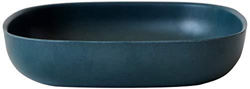 EKOBO Gusto Pastateller, 21 x 21 cm, blue abyss, auch für Salate, aus Bambus / Melamin, FSC-zertifiziert, BPA-frei, spülmaschinengeeignet