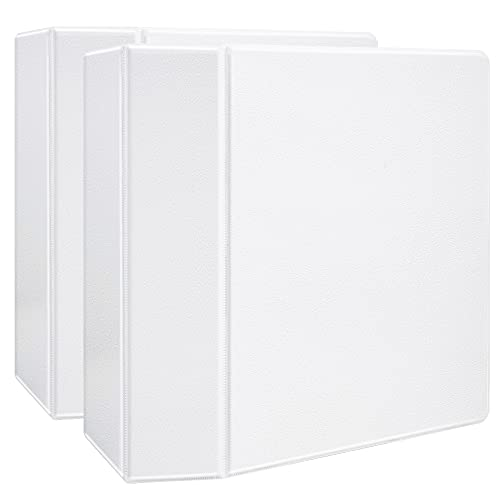 Amazon Basics Heavy-Duty 3 Ring Binder, Customizable View Binder with 5 Inch D-Ring, One -Touch Slant Ring, White, 2-Pack