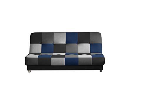 MOEBLO Sofa mit Schlaffunktion und Bettkasten, Couch für Wohnzimmer, Schlafsofa Sofagarnitur Polstersofa Wohnlandschaft - Kaya (Schwarz,Grau,Hellgrau,Dunkelblau (Soro 100+93+83+76))