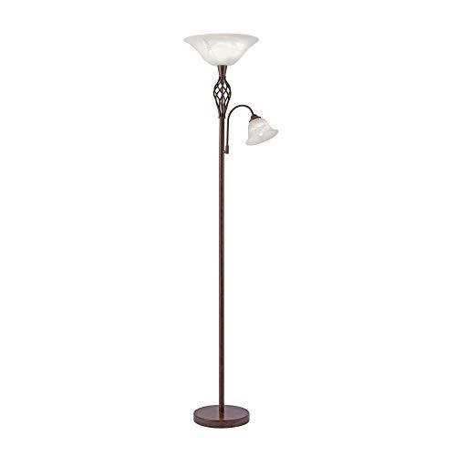 Deckenfluter Alabaster-Dekor Glas, Landhaus Romantik antik rustikal Edel-Rost, E14/E27 LED-fähig...