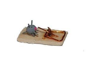 Unbekannt Mausefalle mit Maus / Ratte Küche - Miniatur für Puppenhaus - Puppenstube Küche - Maßstab 1:12 / Diorama