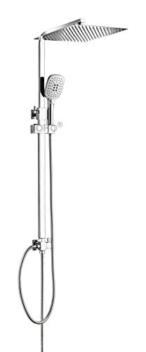JOHO Colonna Doccia in Acciaio Inox Senza Miscelatore Set doccia a Pioggia con Soffione e Doccetta asta Doccia Regolabile Quadrata 30 x 30 cm