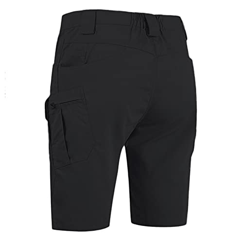 Xjp Herren Cargo Short wasserdichte und Kratzfeste Multi Outdoor Pocket Assault Sommer Casual Workout Shorts(Schwarz,XL)