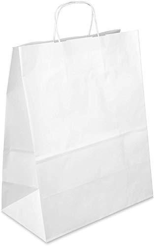 Netuno 20 Stück Weiß Papiertragetaschen mit Griff 25x11x32cm Papier Tüten Weiß Bodenbeutel aus Kraftpapier Einkaufstüten mit Bodenfalte Geschenktüten Geschenkbeutel Partypapiertüten zum Mitnehmen