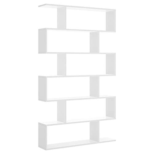Estantería Alta de diseño Moderno en zig Zag lis Tablero de partículas melaminizado 80x25x190 cm (Blanco Brillo)