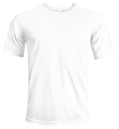 MKR Camiseta deportiva de secado rápido transpirable de manga corta, Transpirable., Hombre, color Blanco ártico suave., tamaño extra-small