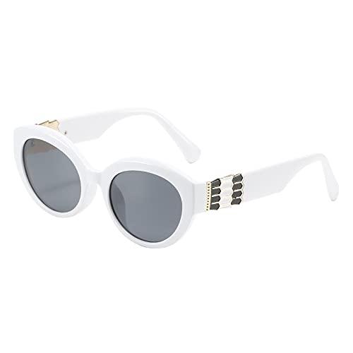 JIYANANDPNTYJ Gafas De Sol Mujer Moda Retro Oval Gafas de Sol Señoras Viajes Pequeño Marco Gato Gafas de Sol Gafas de Sol Sombreado (Lenses Color : White Black)