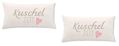 Home Edition 2er Pack Jersey Kissenbezug mit Schriftzugfür Kopfkissen, 40 x 80 cm - Kuschel Zeit beige/rotes Herz