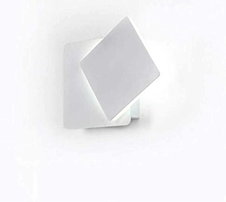 Quadratische Nachttischlampe, 360 Grad drehbare Lampe, weie, moderne Gangdekoration