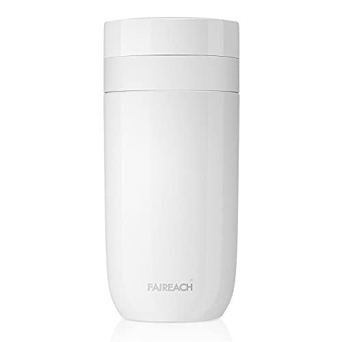 Faireach Termo Cafe para Llevar Reutilizable Aislada al Vacío con Tapa a Prueba de Fugas Taza Termo de Acero Inoxidable de Doble Pared para Bebidas Frías y Calientes té Café Agua