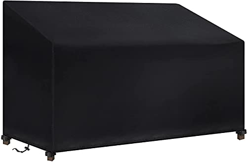 Tvirdeally Garden Bench Cover, Bench Covers Waterproof 2 Seater 600D Heavy Duty Waterproof, Windproof, Anti-UV,Rip Proof Oxford Fabric Outdoor Patio Bench Seat Cover (134 x 66 x 63 / 89cm) - Black