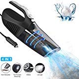 Car Vacuum Cleaner, CAFELE 4 in 1 High Power 12V 120W Wet/Dry Auto Portable Handheld Vacuum Cleaner for Car Interior Cleaning, 15FT Power Cord, 5KPA Strong Suction - Black
